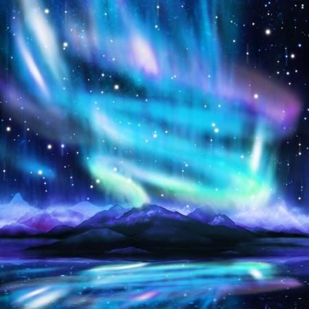fantasy landscape: northern lights ,aurora borealis ,dramatic landscape