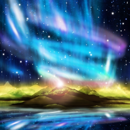 magnetosphere: aurora boreale, aurora boreale, paesaggio drammatico Archivio Fotografico