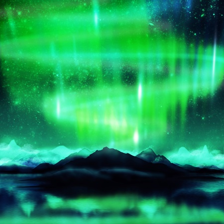 northern lights ,aurora ,dramatic landscape photo