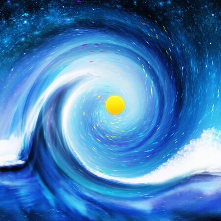 abstract painting: dramatic wave in the space ,abstract painting