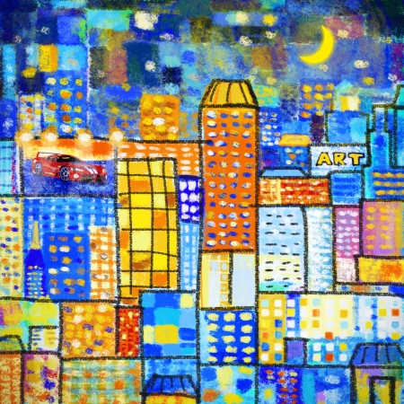 mondrian: painting of city ,abstract geometric colorful pattern Stock Photo