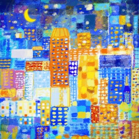 arte moderno: pintura de la ciudad, abstracto colorido patrón geométrico