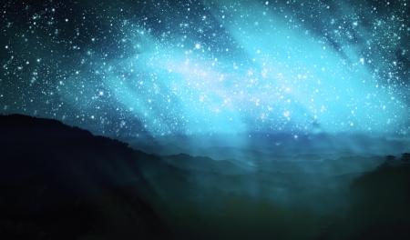 natural phenomenon: aurora borealis on the top of mountain view