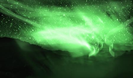 aurora: aurora borealis on the top of mountain view
