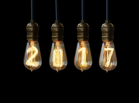 new years eve background: light bulb,new year 2017 Stock Photo
