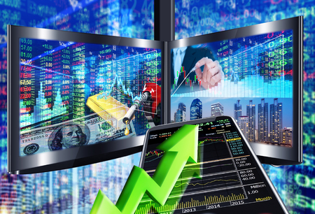 stock market charts: stock market concept ,stock market background Stock Photo
