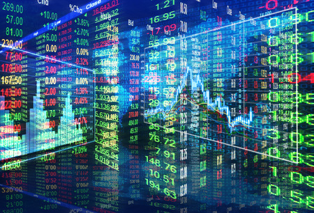 Het concept van de beurs, bullish en bearish markt Stockfoto