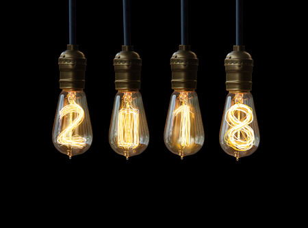 new ideas: light bulb,new year 2018 Stock Photo