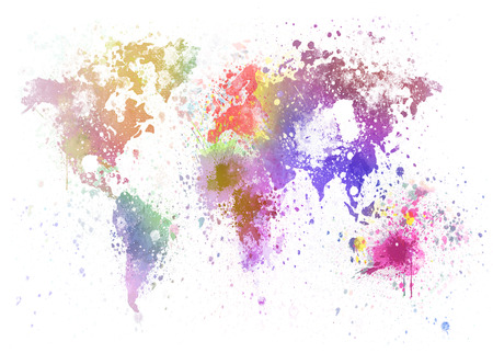 world map painting on hand made paper