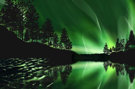 aurora borealis: aurora borealis on the mountain
