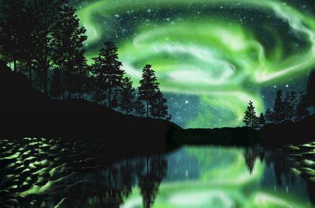 magnetosphere: aurora borealis on the mountain