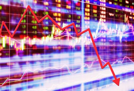 crisis economica: concepto de mercado de valores, caída de la bolsa
