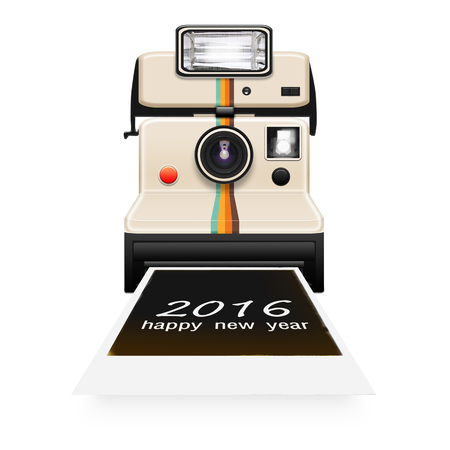 instant camera: instant camera with a new year 2016 photo coming out