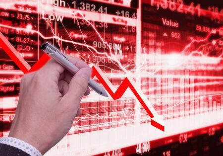 decline in values: stock market concept and background