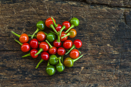 Extremely hot chilli pepper on a wooden background. Imagens