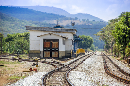 Railway station in the yard of rural Brazil.