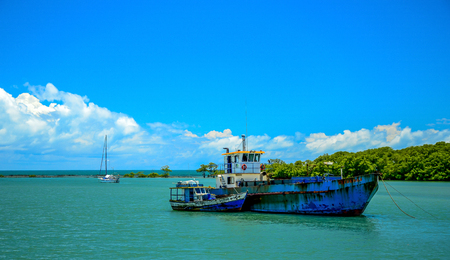 PORTO SEGURO , 22 DECEMBER 2018 : Extramar .Fishing boat mooring at the Porto Seguro coast, in the state of Bahia, Brazil. Editorial