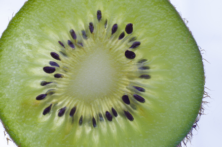 Closeup macro slice of kiwi fruit. Background graphic resources concept. Imagens