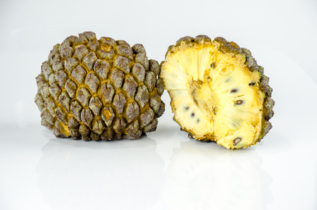 Cross-section of the  marolo fruit ( Annona crassiflora ).The fruit of the original inhabitants of Brazil and Paraguai.