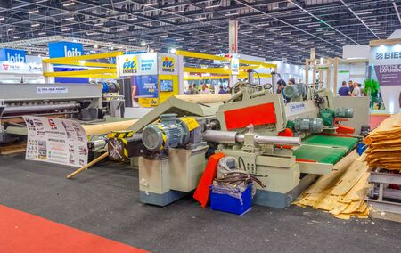 SAO PAULO , BRAZIL - JULY 2018 ;  Formobile , International Fair of Furniture and Wood Industry. The largest exhibition in South America concerning furniture production technological novelties.