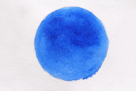 Blue Watercolor on white paper. Watercolor drawing.