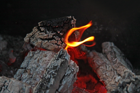 Flames in the fire on a black background Stock Photo