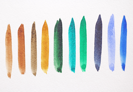 Watercolor bright strips on a white background. Green, blue and brown strips of watercolors.