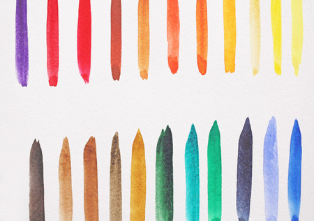 Watercolor bright strips on a white background. Green, blue, red, yellow and brown strips of watercolor.