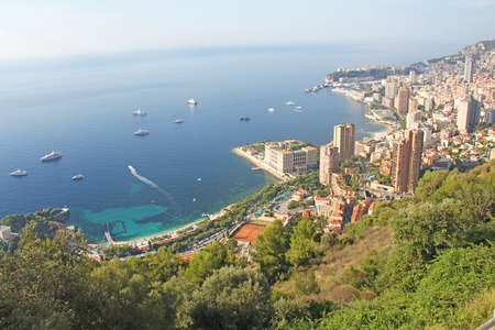 Monaco, a view from above of the city and yachts. France.