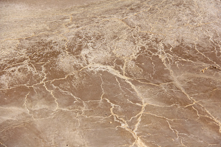 The salt shows through the earth. Barren brown  and beige earth. Dry cracked earth background. Cracked mud pattern. Soil In cracks.Creviced texture.Drought land. Environment drought. Stock Photo