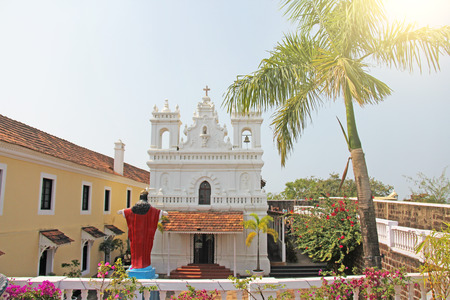 Tiracol Fort. White Catholic Church Cathedral in the Fort Fortress by the sea. India, Goa.