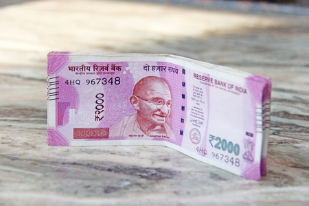 Two thousand rupees, Indian money and banknotes. 2,000 rupees.