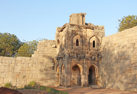 Watch tower of Zanana enclosure at Hampi .Sights of the ruins of Hampi.
