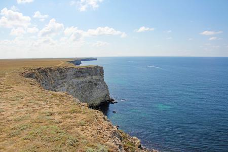 Mountains and the sea. Cape Tarkhankut, Crimea. Beautiful scenery with blue sea.