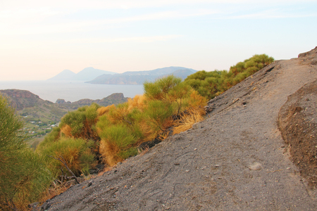 Ascent to the Volcano on the island of Vulcano, Italy, Lipari. Road To The Volcano.