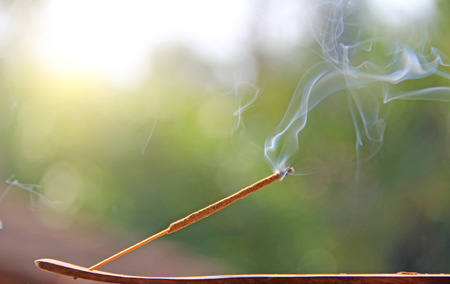 Incense stick and smoke from incense burning. Beautiful smoke. Blurred background and design with copy space.