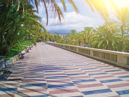 Promenade promenade in the city of San Remo, Italy.