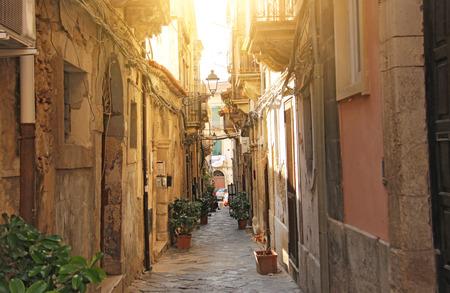 The streets of Italy. Italian Streets. Old city. The island of Sicily, Syracuse, Italy.