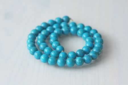 Turquoise. Natural turquoise stone, round beads.