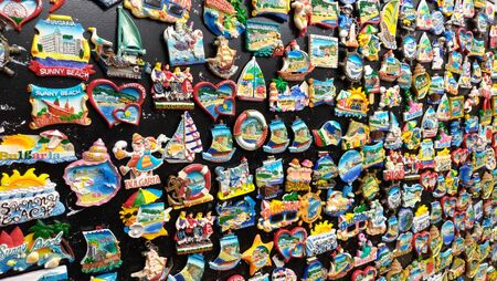 Many souvenir magnets from Bulgaria. A gift for memory, a souvenir.