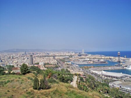 Panorama of Barcelona, Spain. View of the port and the city. Banco de Imagens