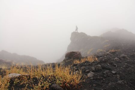 Moss on the Etna volcano. The Etna volcano crater. Black Volcanic Earth, Volcanic Lava and Stones.  Dense Fog on Mount Etna. Place for Text. The island of Sicily, Italy. Фото со стока