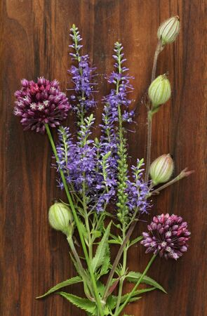 A beautiful summer bouquet, wildflowers, wild onions, Veronica long-leaved violet on a wooden background of black walnut. Minimalism. Beautiful summer wildflowers. vertical, vertical design.