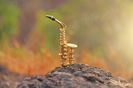 The golden alto saxophone stands on a black stone. Romantic musical background. Musical cover and creative. Design with copy space.
