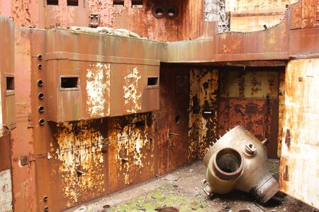 Abandoned Nuclear Power Plant. Russia, the Crimea, Shelkino. Abandoned construction, iron backgrounds. Rust on metal.