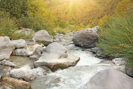 Mountain Rapid River in Italy. Sicily Island, Italy, Alcantara Gorge.