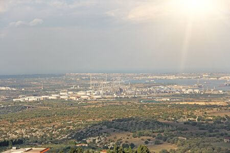Oil Factory. View from above to the plant. The island of Sicily, Italy. Stockfoto