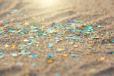 Green, blue or turquoise Soft Blurred Boke Background. Spangles and Shiny Silver Color Background. Bright Background. Glamorous background for your design and decoration. Sparkles on the sand. Magic. 写真素材