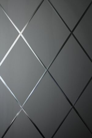 Rhombus background. Gray geometric background of rhombuses and glass. Glass gray background. Copy space for your text. 写真素材