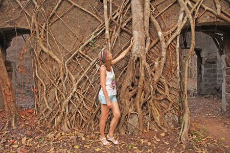 Red Fort in India, Goa. Roots and trunks of old trees captured the old walls of the ancient fort. Girl tourist on the background of Red Fort. Imagens